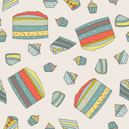 A vector illustration seamless pattern of a colorful cartoon birthday surprise theme