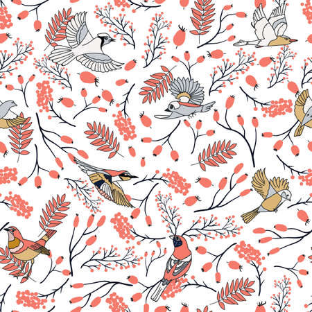 Bullfinch birds seamless pattern with Mountain ash leaves and berries. Merry Christmas collection background. Natural winter texture. Vector illustration Ilustração