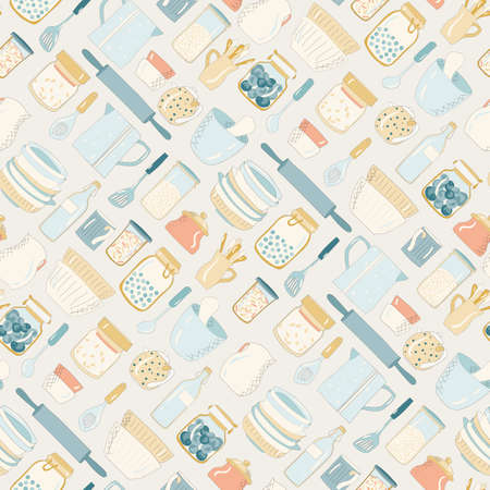 Colorful kitchen utensils, dishes, plates cups teapots Pattern on a light background.