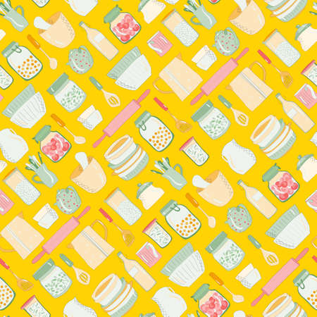 Colorful kitchen utensils, dishes, plates cups teapots Pattern on a bright yellow background Illustration