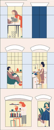 Women s hostel. Windows with neighbors doing daily things in their apartments -read, cook, communicate with cats, surf the Internet . Colorful vector illustration in modern flat style.