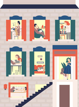 Women s hostel. Windows with neighbors doing daily things in their apartments -read, cook, chat with cats, surf the Internet, take a bath . Colorful vector illustration in modern flat style. Ilustração