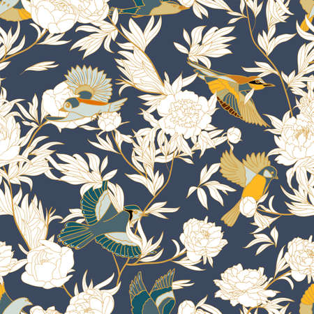 Seamless pattern with Japanese white cranes and peony, Ilustración de vector