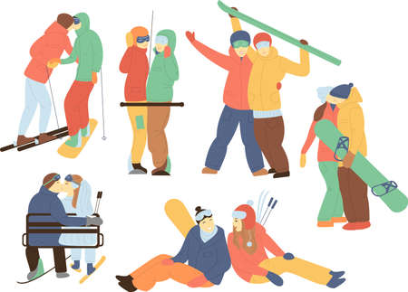 Set in flat style - a pair of snowboarders and skiers. Hugging couple kissing, wedding