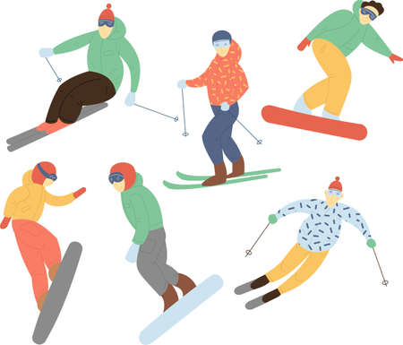 Set in flat style - a Snowboarders and skiers ride. People in the winter are engaged in active recreation
