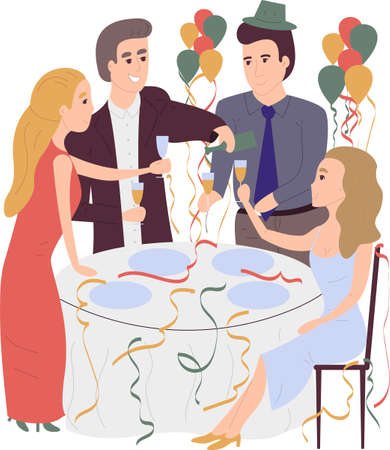 Cartoon flat illustration of people celebrating something on the corporative. Office workers celebrate New Year and Christmas. People in the restaurant are celebrating Stock Vector - 127690020