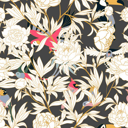 Seamless pattern with peonies and parrots weaving together. Bright tropical pattern, flowering peonies, and birds. white peonies on dark.
