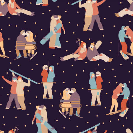 pattern with a pair of snowboarders and skiers. on dark. Hugging couple kissing, wedding