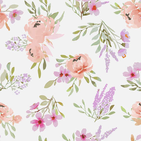 Light seamless pattern with peonies made in the style of watercolor painting. Large bouquets with peonies, floral spring, summer pattern. For weddings, fabrics, packaging. Ilustracje wektorowe