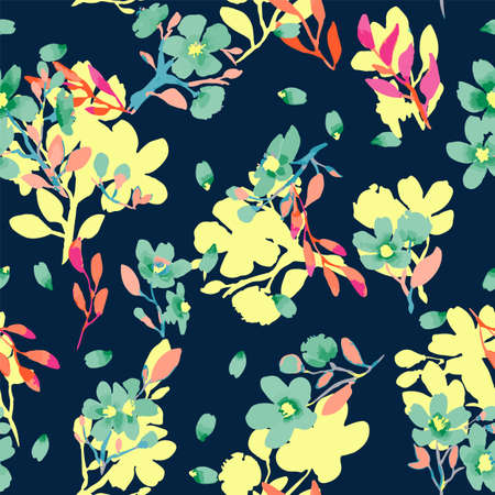 Abstract floral seamless pattern. Bright colors, painting on a dark background. Cherry blossoms. Vettoriali