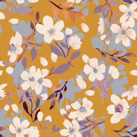 Abstract floral seamless pattern. Bright colors, painting on a light background. Cherry blossoms. Vettoriali