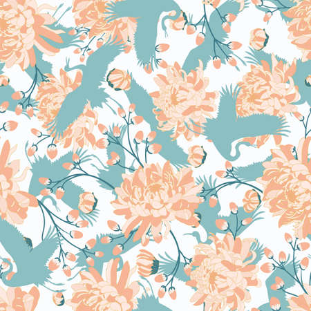 Japanese pattern. Seamless vector ornament with traditional motives. Japanese pattern with storks and chrysanthemum. Illustration