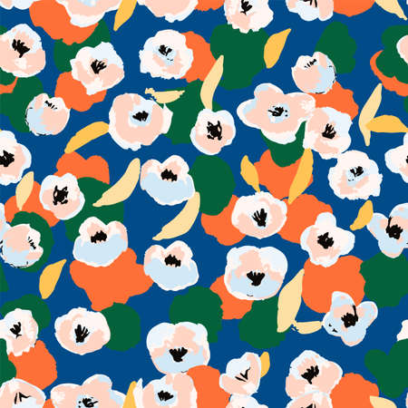 Abstract floral seamless pattern. Bright colors, gouache painting.  イラスト・ベクター素材