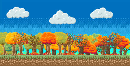 8bit indie arcade game scene, blue sky with clouds, 28 different autumn trees with colored leaves, leaf fall.. Details of the game trees, earth, clouds, sky background. Векторная Иллюстрация