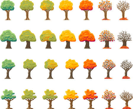 Indie-style set of autumn treesin an 8-bit indie arcade game. pixel art 28 different trees in the period of leaf fall. Bright leaves, autumn months. Ilustração Vetorial