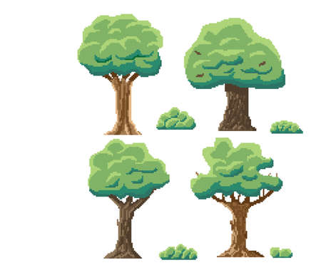 Indie-style set of green trees in an 8-bit indie arcade game. pixel art trees and shrubs