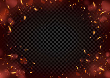 Background with a round frame of sparks of fire on a black background.