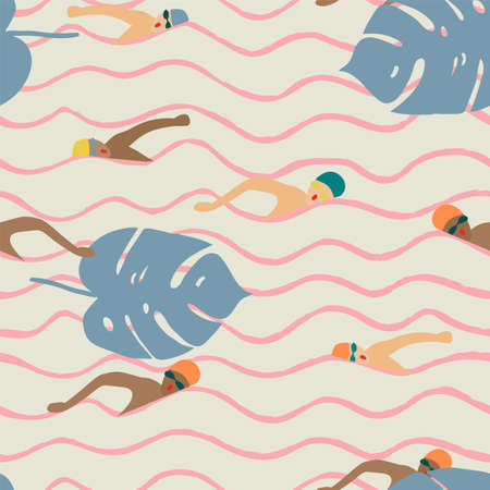 Seamless light pattern and swimmers on a background of pink waves and tropical leaves.