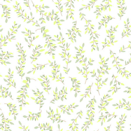Seamless pattern of tree branches with small green leaves intertwined in an ornament on a dark background. Bright, juicy summer background. Vettoriali