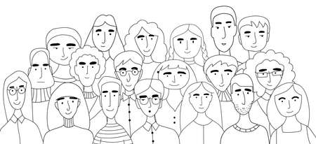 Group photo of a large family. A group of painted faces collected in one place. Great campaign of friends, school photo. Coloring book for kids