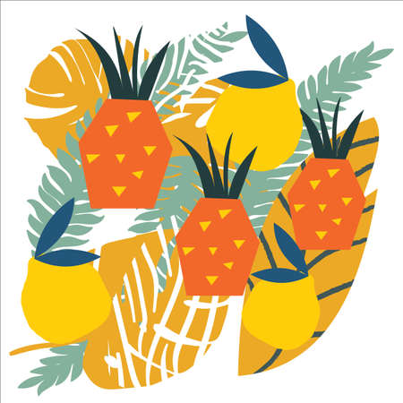 Bright, juicy background from abstract shapes, fruits, citrus lemons, oranges and anans. Bright modern colors of tropical background. Ilustração