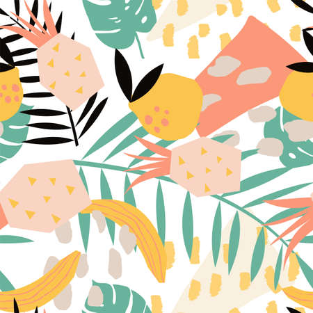 Bright, juicy seamless pattern of abstract shapes, fruits, citrus lemons, oranges and anans. Bright modern colors of tropical background. Ilustração