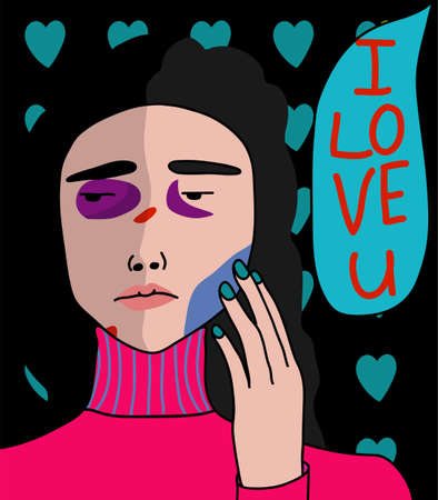 Cartoon, pop art portrait of a girl with bruises on her face with the inscription I will love you. A scared girl suffers from domestic violence. Beats means love. Abusive relationship