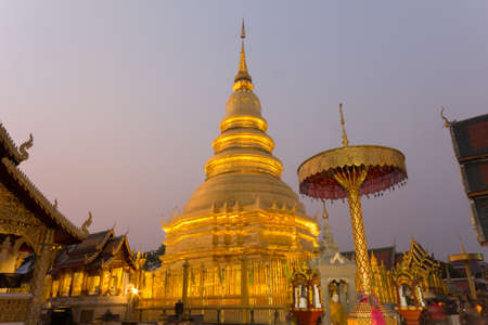 hariphunchai: Thai temple in Lamphun that is Wat Phra That Hariphunchai Stock Photo