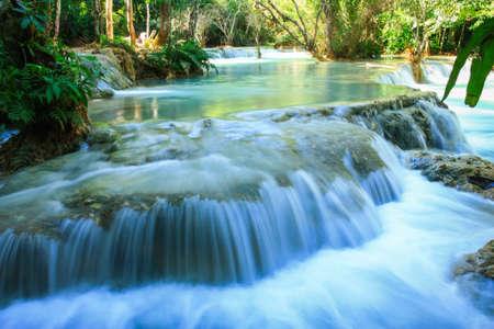 tat: Tat Kuang Si Waterfalls Stock Photo