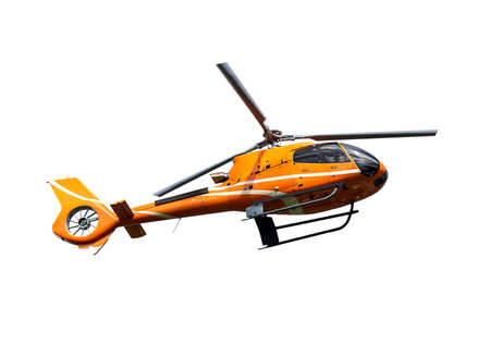 helicopter pilot: Orange helicopter on white background Stock Photo