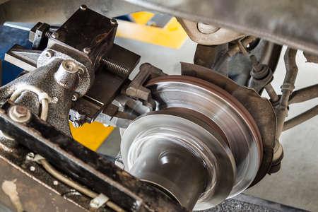 rebuild: rebuild surface of disc brake by on car brake lathe Stock Photo