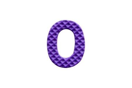 purple number 0 made from EVA foam isolated on white background with clipping path