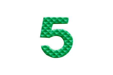green number 5 made from EVA foam isolated on white background with clipping path Stock Photo