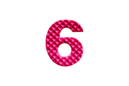 pink number 6 made from EVA foam isolated on white background with clipping path