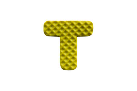 yellow alphabet T made from EVA foam isolated on white background with clipping path