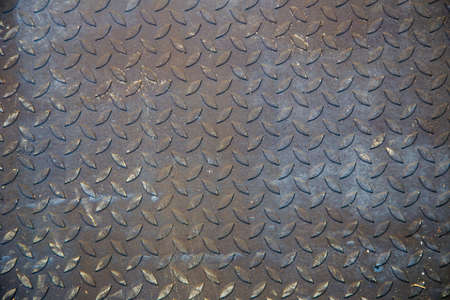 old dirty metal diamond grip pattern texture and background Stock Photo