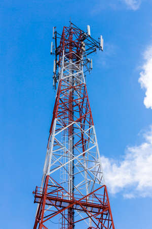 telecommunication tower and antenna with  blue sky