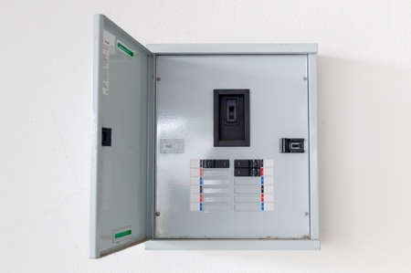 electric circuit cabinet on the wall Stock Photo