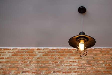vintage hanging light bulb on ceiling