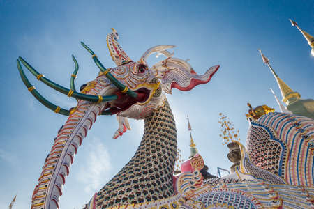 Chiang Mai, Thailand-December 25, 2016 : colorful pagoda in Wat Baan Den in Maetang district Editorial