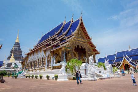 Chiang Mai, Thailand-April 08, 2018 : Tourist walk around Buddhist church in Wat Baan Den