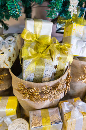 gift box under christmas tree 写真素材