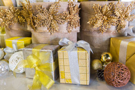 gift box with chritmas decoration 写真素材