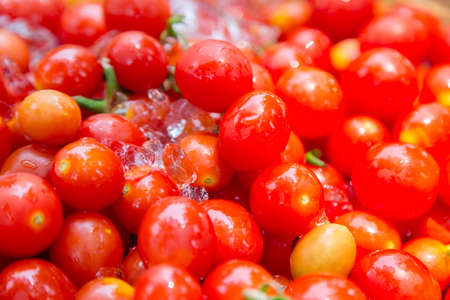 fresh red cherry tomato with ice ready to eat