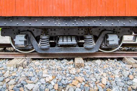 wheel of old train on old railway