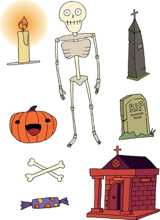 Happy halloween skeleton cartoon hand draw doodle color