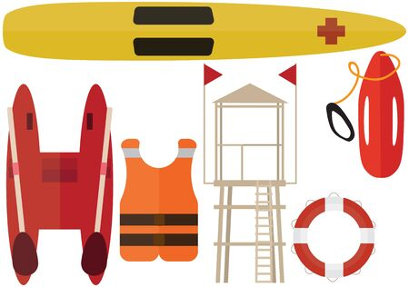 Cartoon beach rescuer color pack set summer boat station help lifeguard
