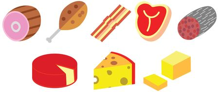 cartoon color doodle flat meat cheese eat food pack set