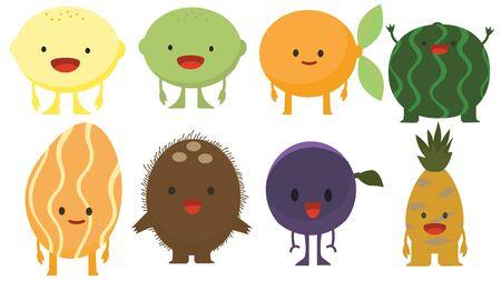 Print cartoon doodles summer color set citrus fruit flat