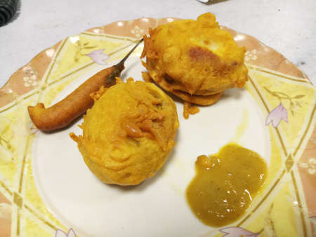 Potato egg chop in india in a plate with chilly Stok Fotoğraf